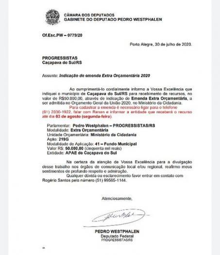 Vereador anuncia emenda de R$ 50 mil para APAE de Caçapava do Sul